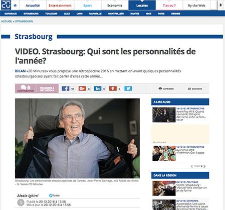 20 minutes Strasbourg personnalités de l'année