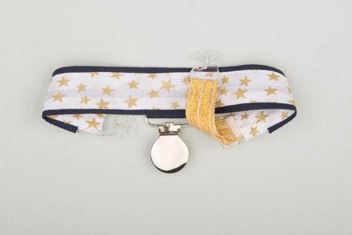 Jart'elle étoiles dorées sur blanc et liseré bleu marine