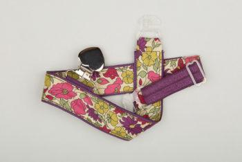 Jart'elle liberty Poppy & Daisy fond violet pince cœur métal