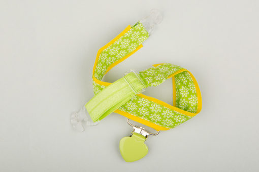 Jart'elle fleurettes sur vert et liseré jaune vif pince coeur vert