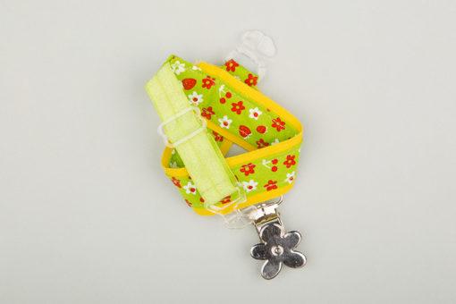 Jart'elle fleurettes et fraises sur vert liseré de jaune pince fleur