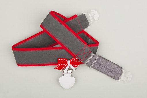 Jart'elle en gris et rouge ruban rouge et blanc