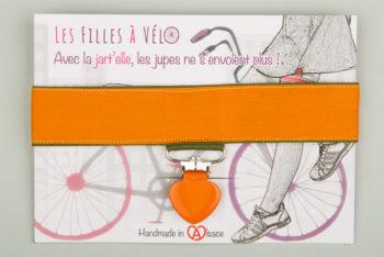 Jart'elle modèle orange uni sur fin liseré kaki