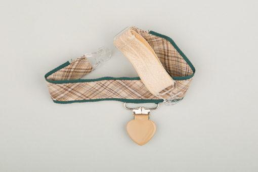 Jart'elle écossais beige sur fond vert pince cœur