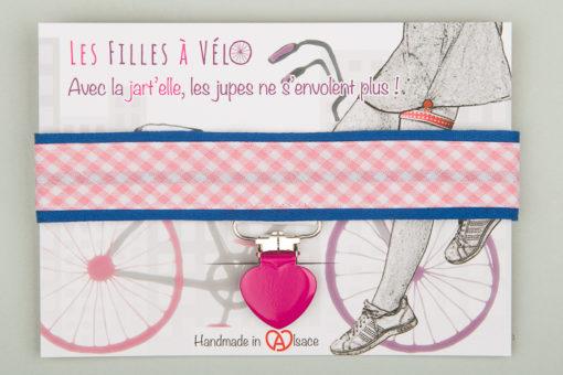 Jart'elle Vichy pastel rose et blanc sur bleu, pince cœur