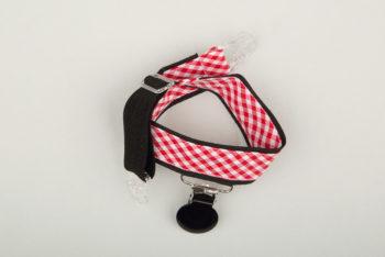 Jart'elle Vichy rouge et blanc, liseré noir, pince noire