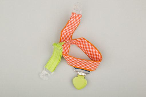 Jart'elle Vichy orange et blanc, touches vertes