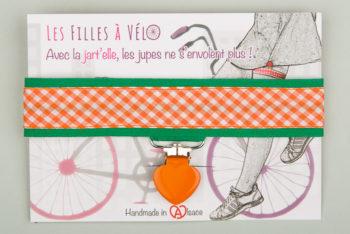 Jart'elle Vichy orange et blanc sur vert