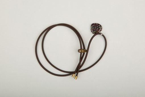 Pantastic marron déco cœur de verre style Murano noir incrusté de fleurs