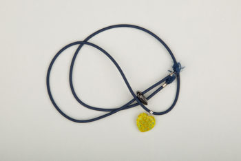 Pantastic bleu coeur de verre style Murano jaune incrusté de fleurs