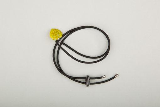 Pantastic noir déco cœur de verre style Murano jaune
