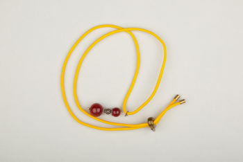 Pantastic jaune déco perles de verre brun-rouge