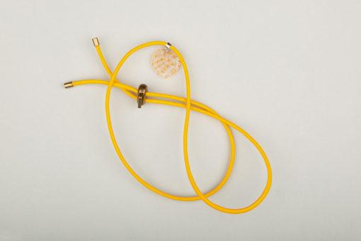 Pantastic jaune déco cœur de verre style Murano transparent incrusté fleurs jaune