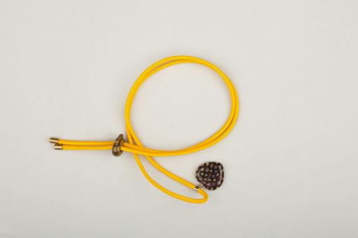 Pantastic jaune déco cœur de verre style Murano noir incrusté fleurs
