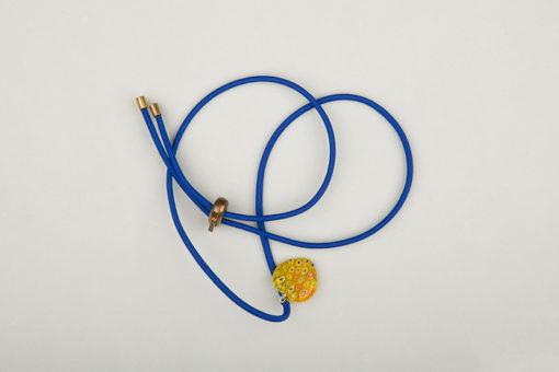 Pantastic bleu déco cœur de verre style Murano jaune incrusté fleurs