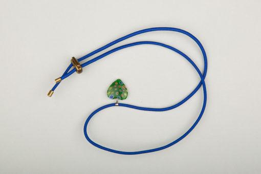 Pantastic bleu déco cœur de verre style Murano vert incrusté fleurs