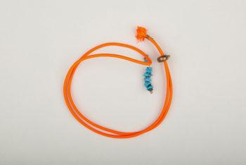 Pantastic orange fluo déco perles bleues imitation pierre