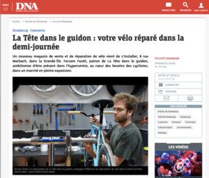 DNA 5 septembre 2018 - Un article sur le nouveau magasin La tête dans le guidon, qui vend des jart'elles.