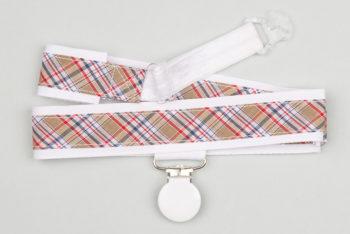 Jart'elle écossais sur blanc pince ronde blanche qui empêche les jupes de s'envoler à vélo - Les filles à vélo