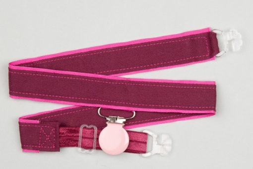 Jart'elle prune sur fond rose, pince rose pale qui empêche les jupes de s'envoler à vélo - Les filles à vélo