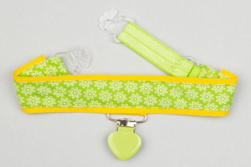 Jart'elle fleurettes blanches sur fond vert et jaune, pince coeur vert qui empêche les jupes de s'envoler à vélo - Les filles à vélo