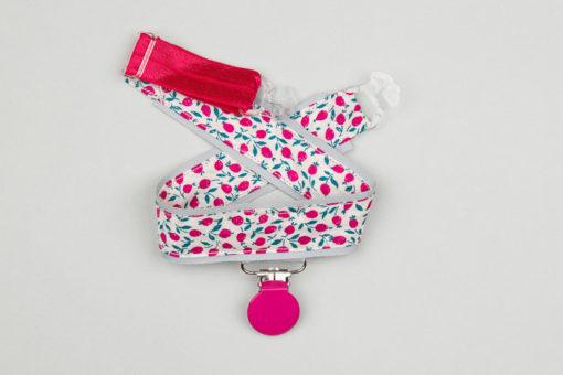 Jart'elle Liberty Ed fond gris pince ronde rose qui empêche les jupes de s'envoler à vélo - Les filles à vélo