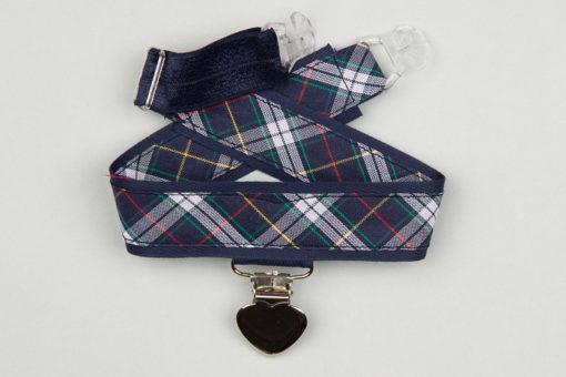 Jart'elle écossais bleur marine pince coeur métal qui empêche les jupes de s'envoler à vélo - Les filles à vélo