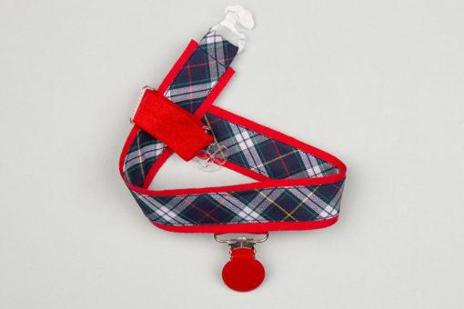 Jart'elle motif écossais bleu marine fond rouge pince ronde rouge qui empêche les jupes de s'envoler à vélo - Les filles à vélo