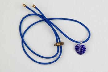 Pantastic bleu déco coeur verre incrustation fleurs style Murano