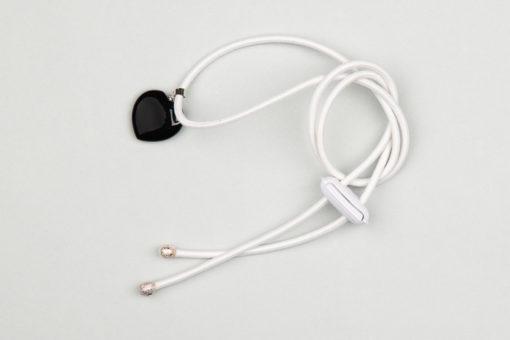 Pantastic blanc déco coeur noir pierre semi-précieuse Onyx - Les filles à vélo
