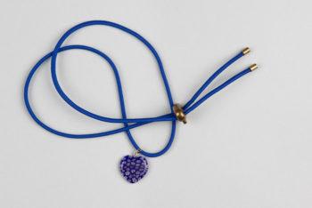 Pantastic bleu roi déco coeur verre incrustation fleurs style Murano