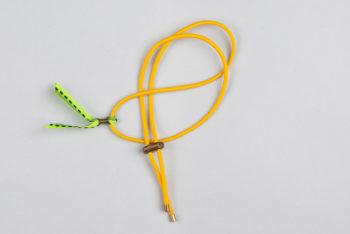 Pantastic jaune déco ruban vert serti d'une perle de cuivre