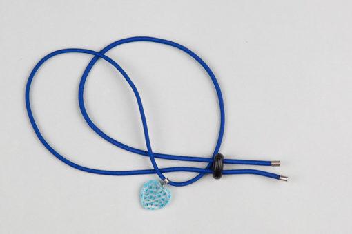 Pantastic bleu roi déco coeur verre transparent incrusté de fleurs bleu ciel style Murano