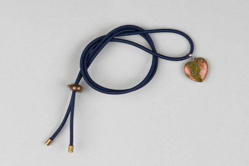 Pantastic bleu marine déco coeur pierre semi-précieuse épidote